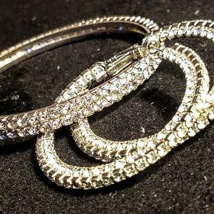 Jewelry - Vintage Rhinestone bangle and earrings set